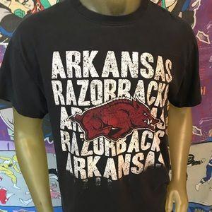 Faded and Worn Black Arkansas Razorbacks Large Tee
